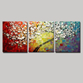 3 piece wall art flower modern colorful acrylic floral painting on canvas for sale hand painted