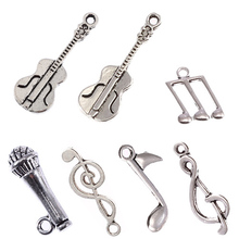Buy Tibetan silver beads charms Note Guitar Microphone pendants fit bracelets DIY jewelry making 10pcs for $1.06 in AliExpress store