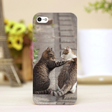 pz0012-27 double cat Design Customized cellphone transparent cover cases for iphone 4 5 5c 5s 6 6plus Hard Shell