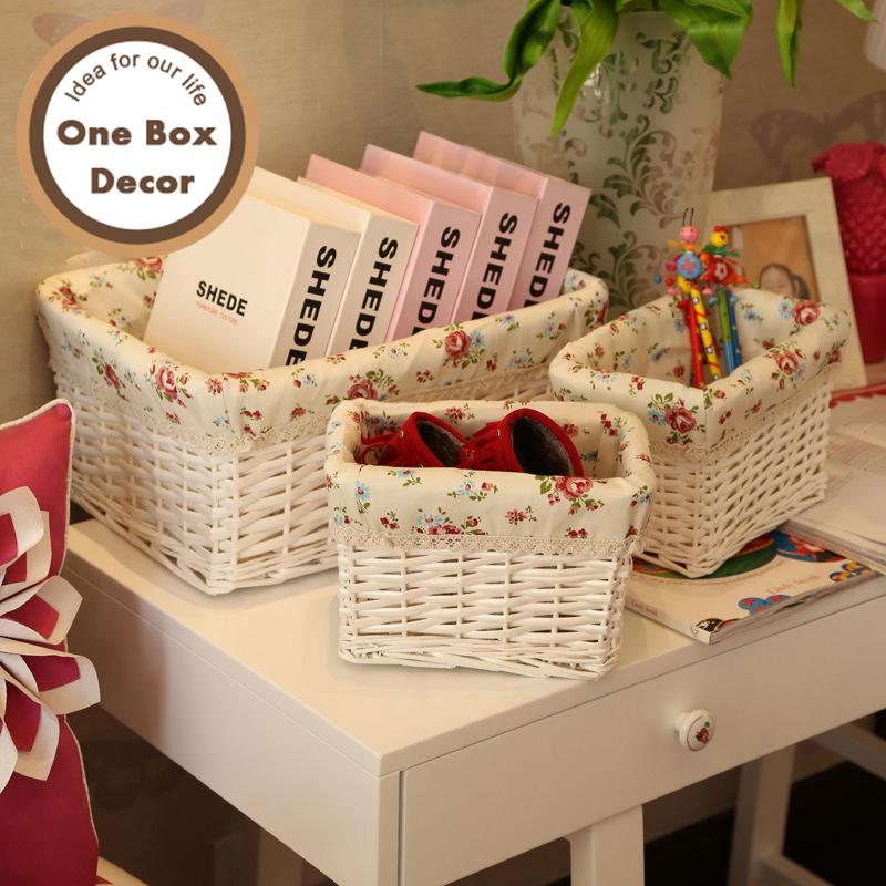 3pcs/set Decorative White Wicker Storage Baskets Cosmetic Storage Box For Books Crafts Tins Furnishing Desktop Organizer(China (Mainland))