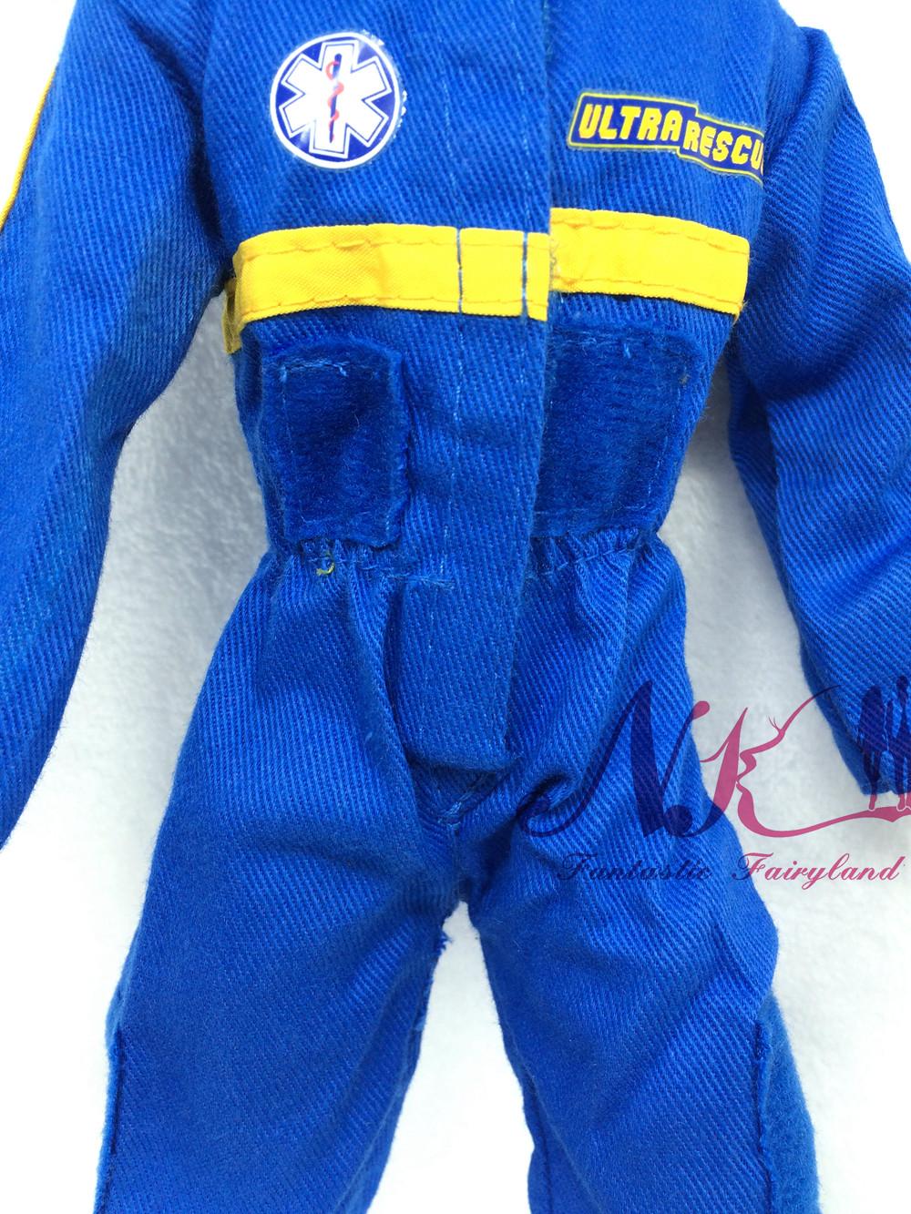 NK Unique Doll Prince Garments Fight Uniform Navy Blue Jumpsuits Outfit For Barbie Boy Male Ken Doll For Lanard  1/6 Soldier
