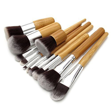 11Pcs/set  Professional Wood Handle Makeup Make Up Cosmetic Eyeshadow Foundation Concealer Brushes Set  Tools