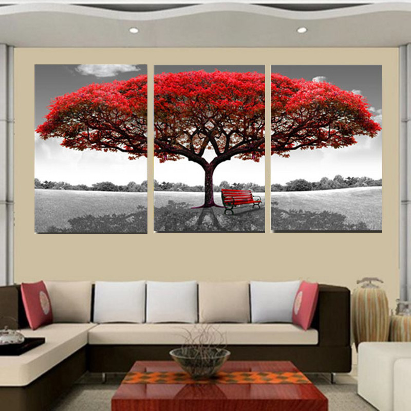 50x70cm red tree modern abstract oil painting on canvas for Abstract salon of the arts