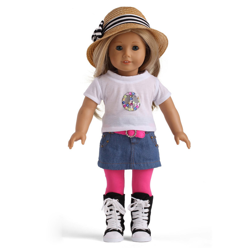 free shipping High quality fashion 18 inch american doll clothes girl dolls clothing accessories V5TY(China (Mainland))