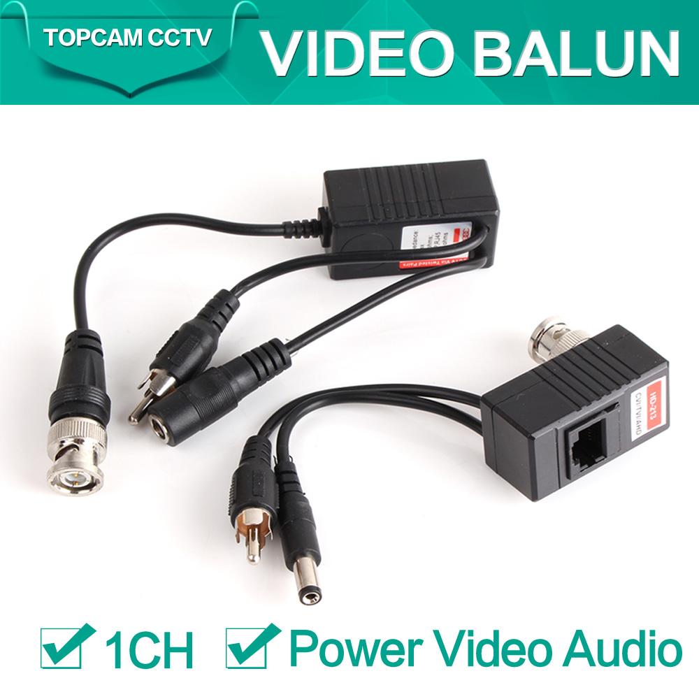CCTV CAT5/5E/6 Cable Balun RJ45 Video Power Balun Video Audio Power For HD AHD,HDCVI HDTVI 720P CCTV Camera(China (Mainland))