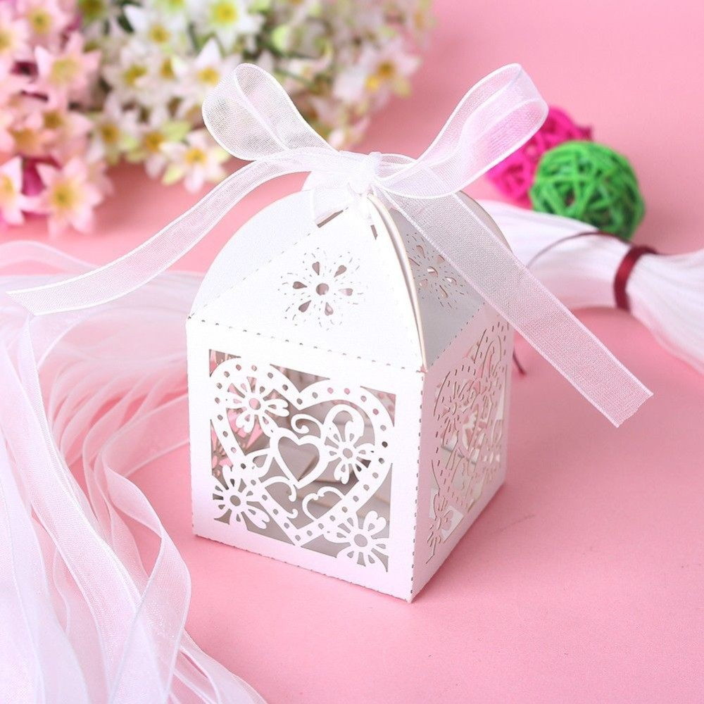 Love Heart Laser Cut Candy Gift Boxes With Ribbon Wedding Party Favor Creative Favor Bags Free Shipping 50 pcs/lot