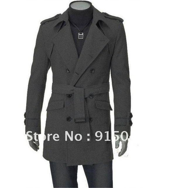 Mens Slim Fit UK Style Double pea Belt Coat long Jacket Overcoat