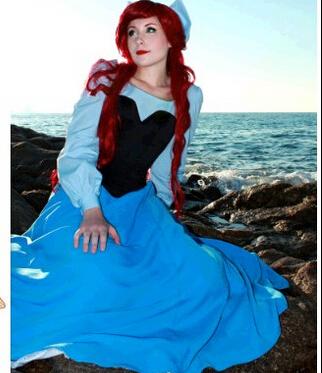 Free Shipping New Custom Fantasia Halloween Women Adult Princess Ariel Dress The Little Mermaid Ariel Costume Blue DressОдежда и ак�е��уары<br><br><br>Aliexpress