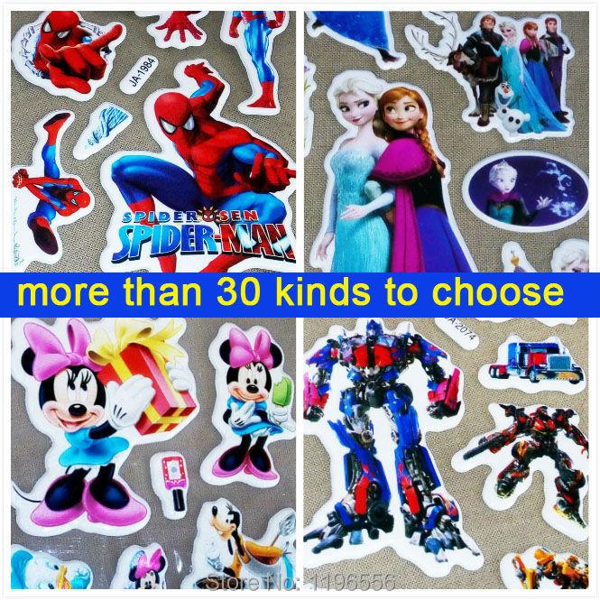 1 Piece Children's Favourite Cartoon Kids Room Decoration Minnie Spiderman Minion Transformation Hello Kitty Puffy Wall Stickers(China (Mainland))