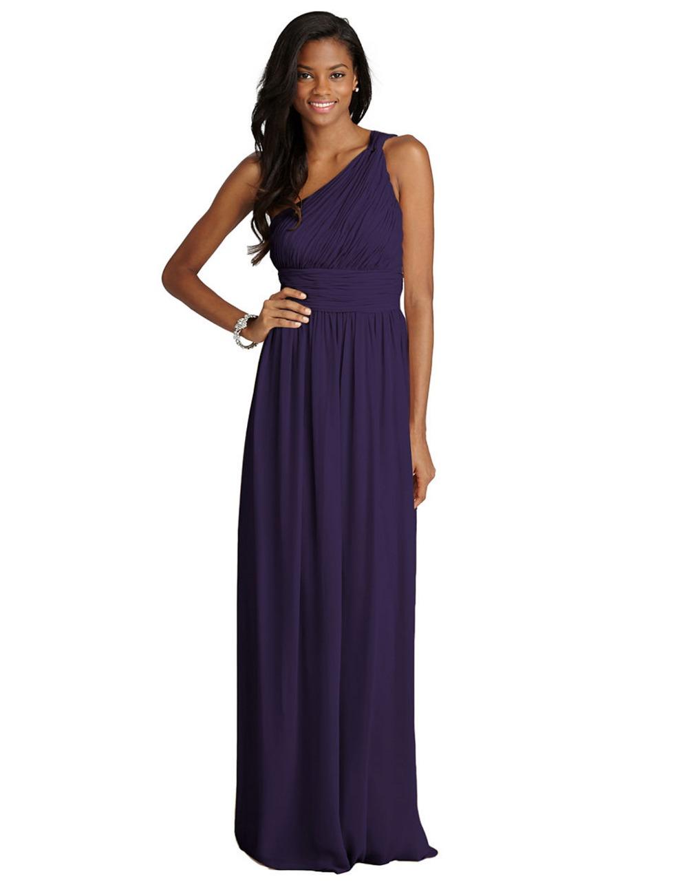 one shoulder purple prom dress 2015 plus size chiffon ...