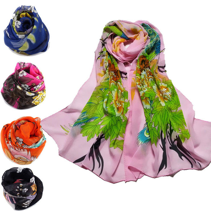 New 2015 Fashion Womens Peacock Plum Printed Soft Muffler Chiffon Scarf Wrap Shawl Just for you(China (Mainland))
