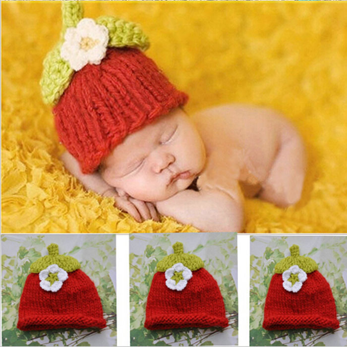 New Arrival Newborn Photography Props Baby Hat Sweet Strawberry Children Hair Accessories Toddler Handwork Crochet Flower Hat(China (Mainland))
