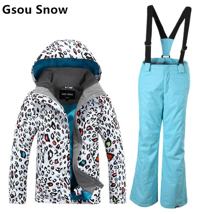 Gsou snow childrens ski suit girls skiing suit parent-child ski suit kids leopard print ski jacket and blue pants skiwear anorak