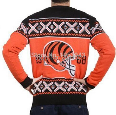 Newest Man s Busy Block Ugly Sweater Patches Crew Neck Football Style Winter Pullovers Bengals Sweaters