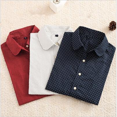 Hot New Women Blouses Long Sleeve Shirt Polka Dot Blusas Femininas 2015 Cotton Shirt Red Women Tops Camisas Femininas Tops(China (Mainland))