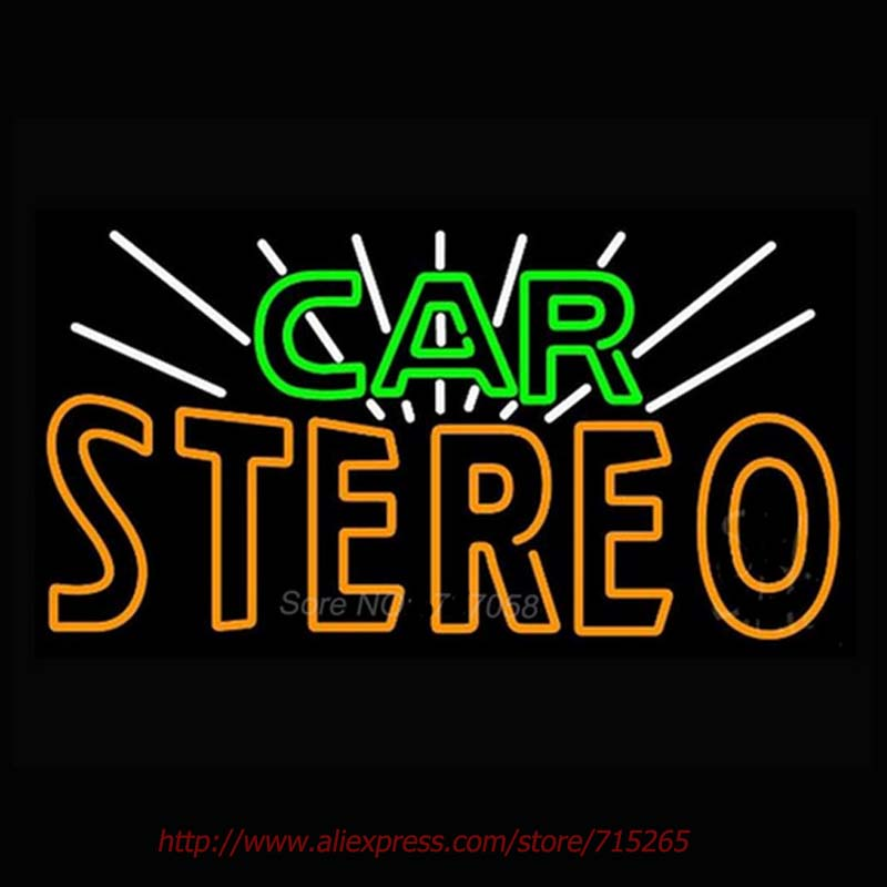Green Car Stereo Neon Sign Recreation Room Neon Bulbs Beer Pub Neon Light Sign Real Glass Tube Impact Handicraft Decorated 24x18(China (Mainland))