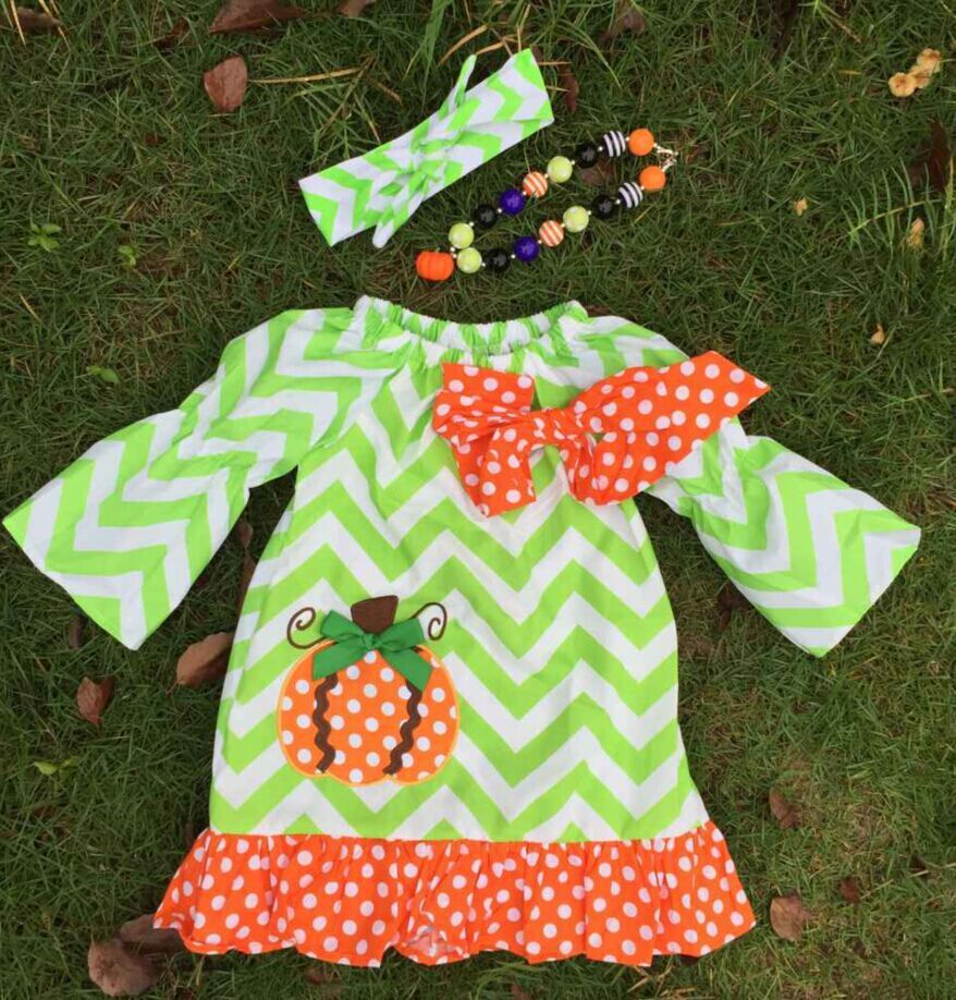 2015 new professional design latest style  girls pumpkin green chevron dress with necklace and headband(China (Mainland))