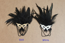 Chic Mask Black Feather Brooch Pin Accessories 2016