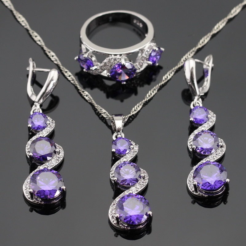 created purple amethyst white topaz silver color jewelry