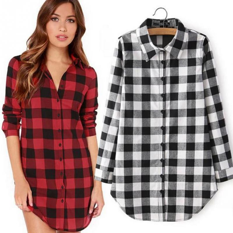 New Fashion 2016 summer spring Casual Lapel Plus Size Blouses Women Plaid Shirt Female Long Sleeve Tops Blouse(China (Mainland))