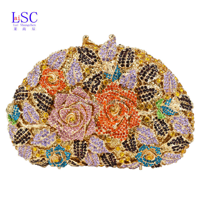 LaiSC Luxury crystal clutch bags women rose floral bridesmaid bag sac soiree party purse Handcraft colorful evening bags SC175(China (Mainland))