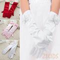 Long Style Satin Kids Girls Gloves for Party Wedding Performance Flowers Girl Bow Glove Baby Children