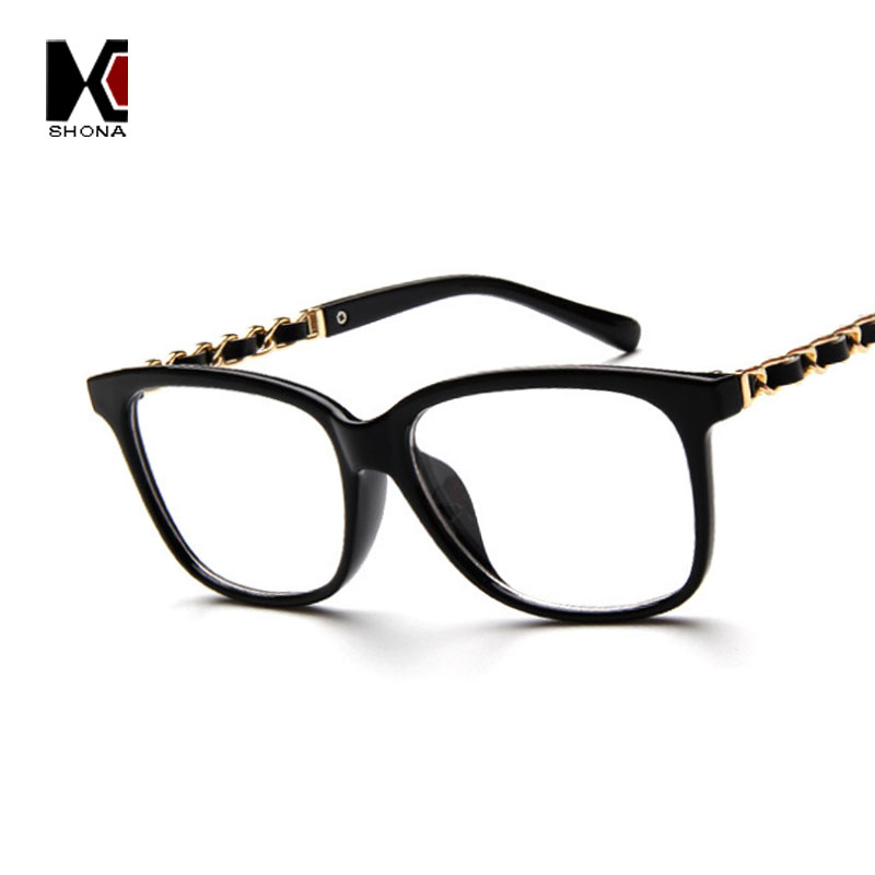 New Fashion Hermione Glasses Women Chain Eyeglasses Frame Black Eye Glasses Vintage Flat Eyewear Frames Brown Leopard Spectacles