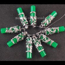 Free shipping  10pcs Wholesale Green Jade Column Silver Dragon Pendant Bead MC3456(China (Mainland))