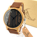 BOBO BIRD H08 Vogue Mens Bamboo Watches Wooden Dial Leather Quartz Wristwatch in Gift Box Relojes