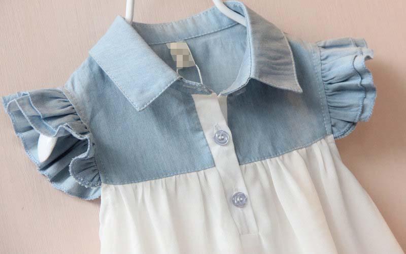 2015 девушка летнее платье в стиле девушки юбки джинсовые шифоновое платье детской одежды для детей