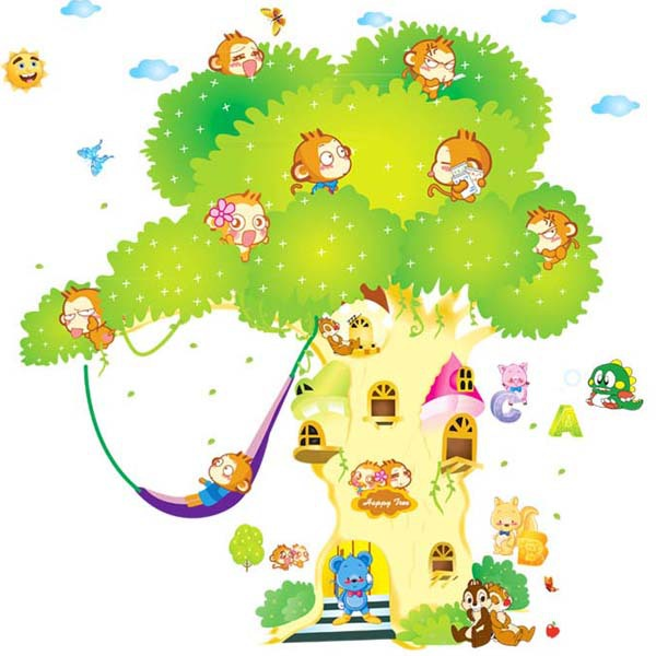 2015 New Big Cartoon Tree And Monkey Squirrel Wall Sticker Removable Art Vinyl Decal Mural Love Home Decor Room X-large 2pcs/set(China (Mainland))