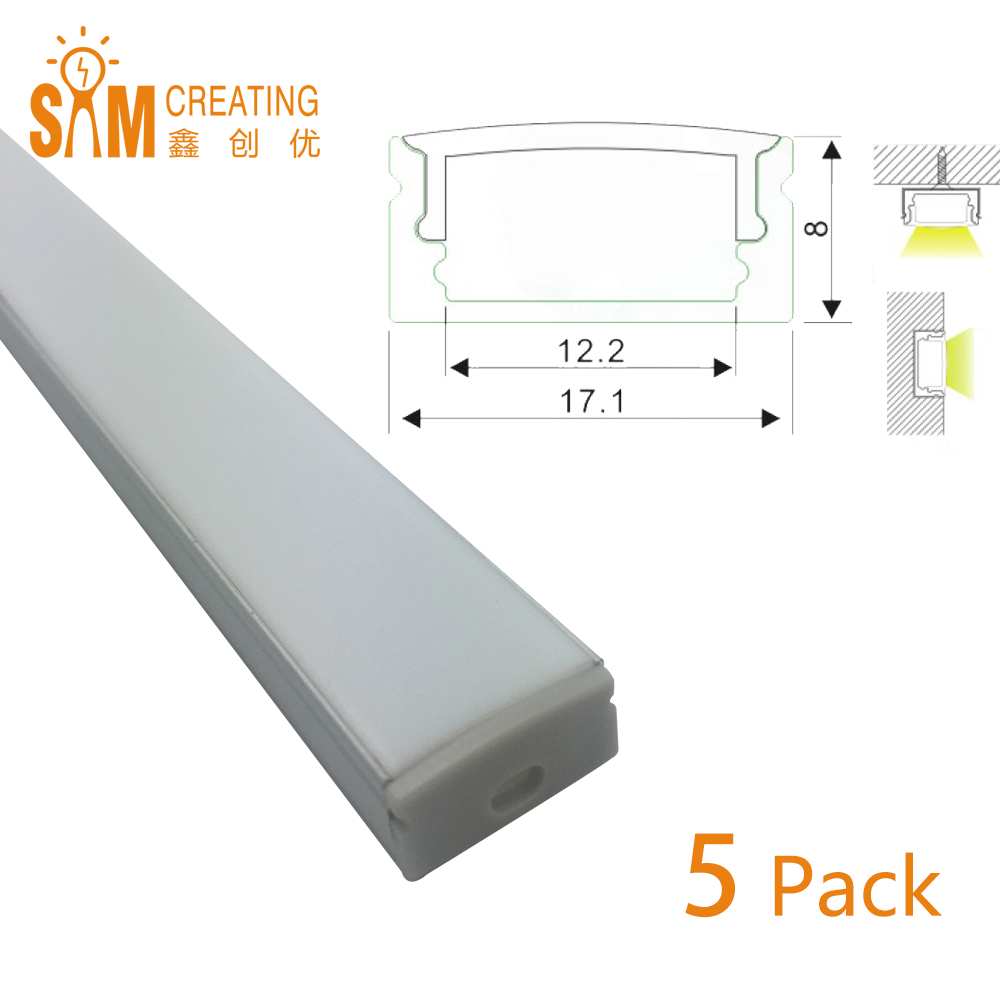 Extruded Aluminium U Shape Channel (1m/3.3ft) - Pack of 5- Ultra Slim - Sturdy Profile - End Caps/ Mounting Clips(China (Mainland))