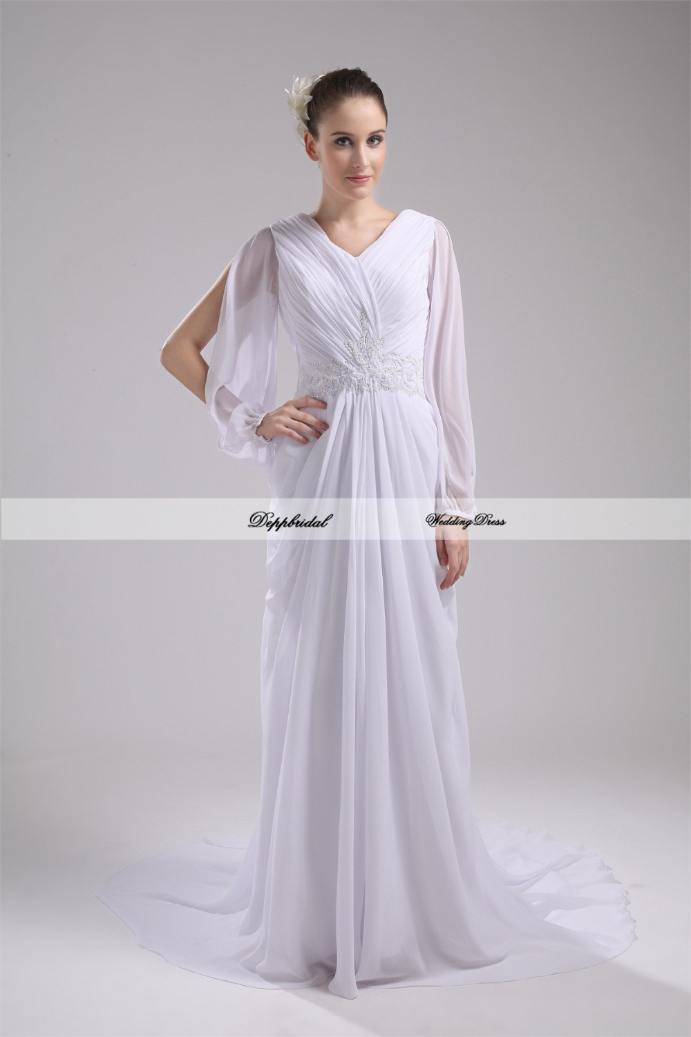 Wholesale wedding dress chiffon v neck a line long sleeve for Long sleeve chiffon wedding dress