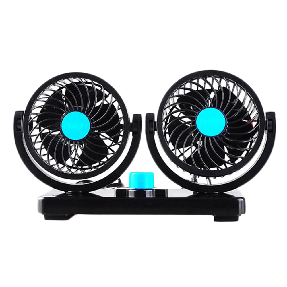 new blue 360 ROTATE double slider fan 24v big truck fan truck car 12v head cooling fan for Desk, Office, Car free shipping(China (Mainland))