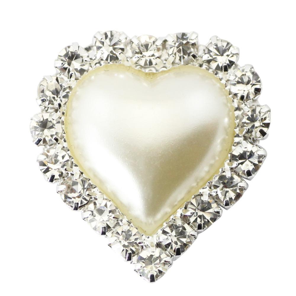 10pcs/lot 21mm Pearl Heart Diamond Shine Buckle Full of Glossy Crystal For Wedding Ribbon Free Shipping(China (Mainland))