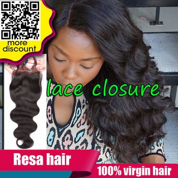 "7A Brazilian Lace Closure 4""x4"" Human Hair Closure Virgin Hair Closure Bleached Knots Free/2/3 Parts Brazilian Body Wave Closure"