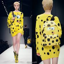 Long Sweater Women 2015 Fall Winter Runway Brand Fashion Novelty Cartoon Character Yellow Polka Dot Knitted Woolen Pullover 1158(China (Mainland))