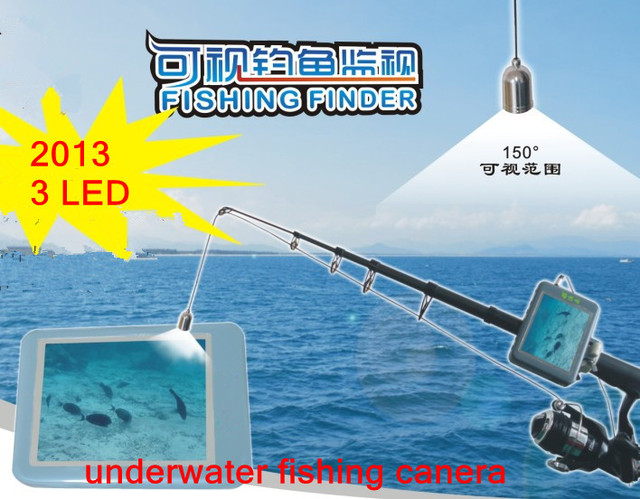 color Fish finder, 3 IR LEDs 20m Cable Inspection Camera with 3.5 inch Color Monitor underwater fishing camera fishfinder