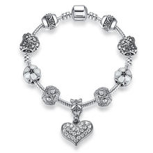 ELESHE, Европейский Серебряный браслет с подвеской, с кристаллами, цветком, бусинами в форме сердца, браслет для женщин, сделай сам, ювелирное и...(China)