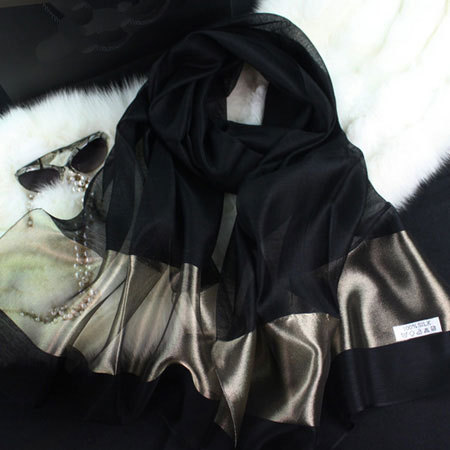 2015 new silk women scarf 10 color fashion black stitching gold silk scarf silk scarves cotton shawls brand wj0120(China (Mainland))