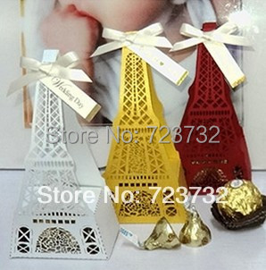 France Eiffel Tower engraving paper candy box Wedding favors and gifts package Party decoration supplies(China (Mainland))