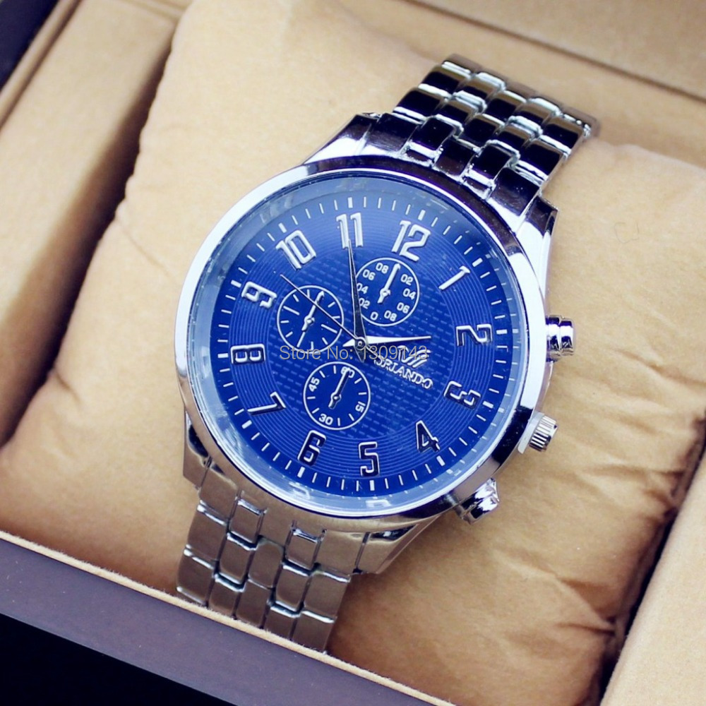 Arrive Brand Design GENEVA Alloy men Business Watch, Stainless Steel Strap Quartz Wristwatches, - stationery shops store