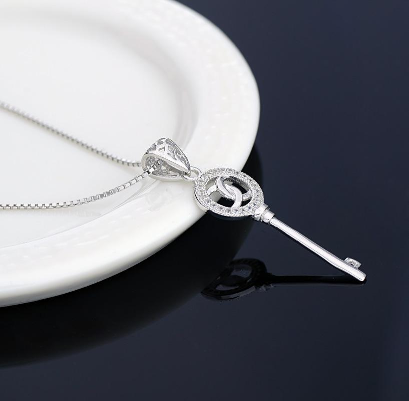 fashion CZ diamond pendant S925 sterling silver key pendant wholesale free shipping(China (Mainland))