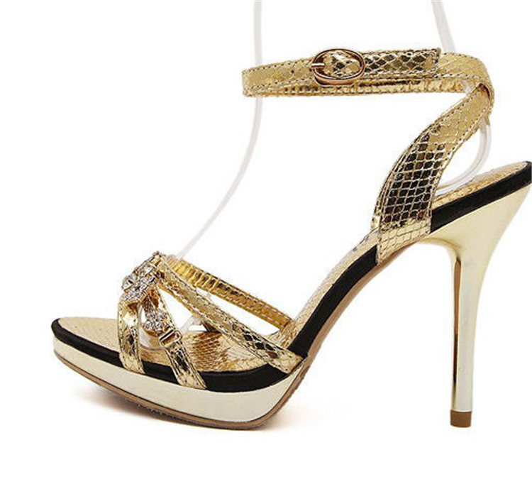 Fashion New 2015 Women Shoes Summer High Heels Summer Buckle Strap Sexy Open Toe sandal Gold&amp;Sliver pumps Wedding Shoes X0408<br><br>Aliexpress