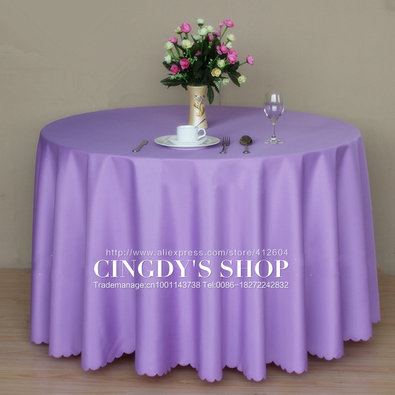 100% polyester light purple plain table linen 3.2M round tablecloth for dinning(China (Mainland))