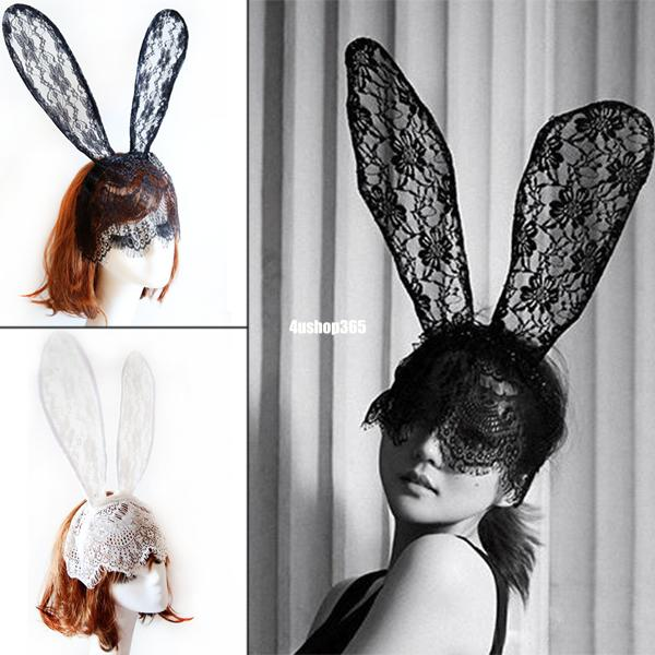 Hair accessories rabbit ear adjustable lace mask headband party halloween costumes hairband EX0256(China (Mainland))