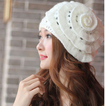Winter Warm Women Beret Braided Knit Crochet Baggy Beanie Flower Hat Ski Cap Fashion  women accessories