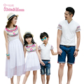 New Fashion Design Mother Daughter Dresses Family Matching Outfits Father and Son Clothes Family Look 2016