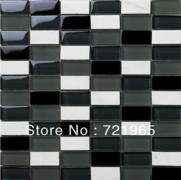 Marble mosaic tile black and white crystal glass mosaic kitchen backsplash tiles SGMT046 FREE SHIPPING glass mosaics wholesale<br>