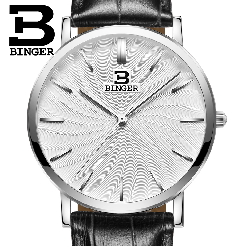 Switzerland BINGER men watches luxury brand quartz leather strap ultrathin Wristwatches Waterproof B3051M-2<br><br>Aliexpress
